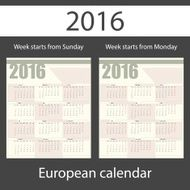 Calendar 2016 set of two templates