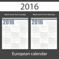 Calendar 2016 set of two templates N2