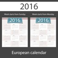 Calendar 2016 set of two templates N3