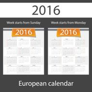 Calendar 2016 set of two templates N4