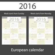 Calendar 2016 set of two templates N5