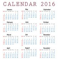 Calendar 2016 happy new year vector illustration N2