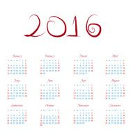 Calendar 2016 happy new year vector illustration N3
