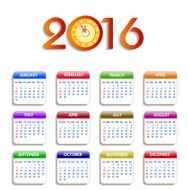 Calendar 2016 happy new year vector illustration N4