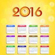 Calendar 2016 happy new year vector illustration N5