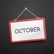 October hanging sign
