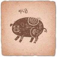 Pig Chinese Zodiac Sign Horoscope Vintage Card