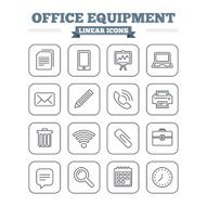 Office equipment linear icons set Thin outline signs Vector N3