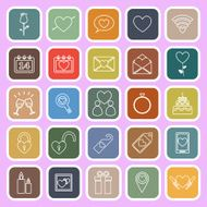 Valentine's day line flat icons on pink background