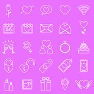 Valentine's day line icons on pink background