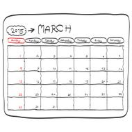 march 2015 planning calendar doodles hand drawn