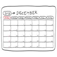 december 2015 planning calendar doodles hand drawn N2