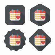 wedding day calendar flat icon with long shadow eps10 N16