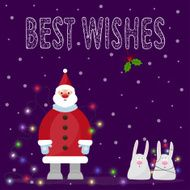 illustration with Santa Claus funny cartoon rabbits hand-drawing best wishes