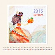 Calendar for october 2015 with girl watercolor painting