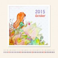 Calendar for october 2015 with girl watercolor painting N2