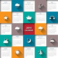 Modern 2015 calendar template with weather icon Vector illustration