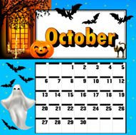 calendar for October bats and pumpkin candle holder ghost