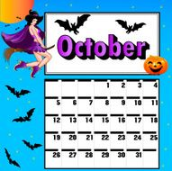 calendar for October bats pumpkin witch on a broomstick