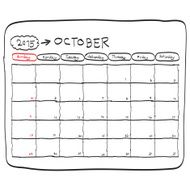october 2015 planning calendar doodles hand drawn N2
