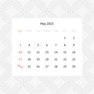 Calendar page for May 2015 N8