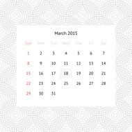 Calendar page for March 2015 N8