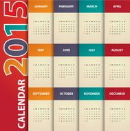 Modern calendar 2015 in paper background style Vector illust ration