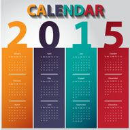 Modern calendar 2015 in multicolor paper style Vector illustration