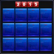 Calendar 2015 vector Sunday first american week 12 months blue