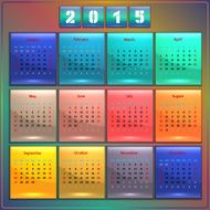 Calendar 2015 vector Sunday first american week 12 months rainbow
