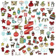 Christmas new year icons set Colored Doodle sketchy