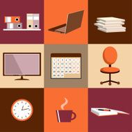 Flat vector set of office things equipment objects N3