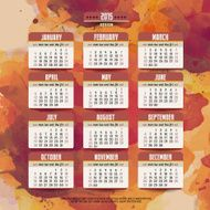 Calendar with watercolor paint 2015 design English Sunday star N3