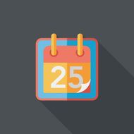 Calendar flat icon with long shadow eps10 N15