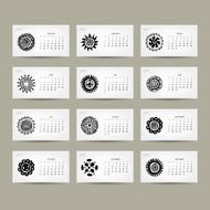Calendar grid 2015 for your design ethnic ornament N2