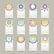 Calendar grid 2015 for your design floral ornament N3