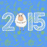 Winter chinese new year card with cute cartoon sheep