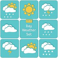 Flat design vector weather icons set N2
