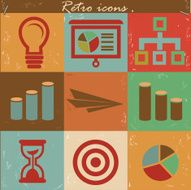 Business concept icon set Vintage style vector