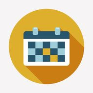 calendar flat icon with long shadow N4