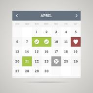 Flat calendar Vector illustration