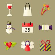 Christmas flat Icons Set over beige