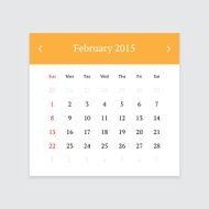 Calendar page for February 2015 N8