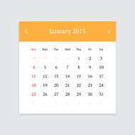 Calendar page for January 2015 N8