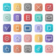 Flat design icons for web development and SEO