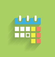 Flat long shadow design calendar icon