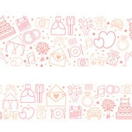 Seamless vector pattern borders of wedding icons