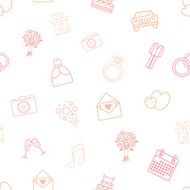 Seamless vector pattern of wedding icons