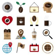 coffee and tea flat icons vector illustration