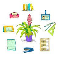 Business office stationery supplies icons set N2